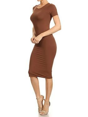 fb8ec76e8588c Product Image Womens Plain Basic Simple Soft Crew Neck Midi Bodycon Dress  DRS002-S-Black