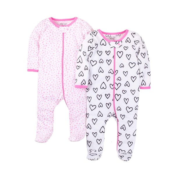 Little Star Organic Newborn Baby Girl Sleep 'N Play Footed Pajamas, 2-Pack (Preemie-9M)