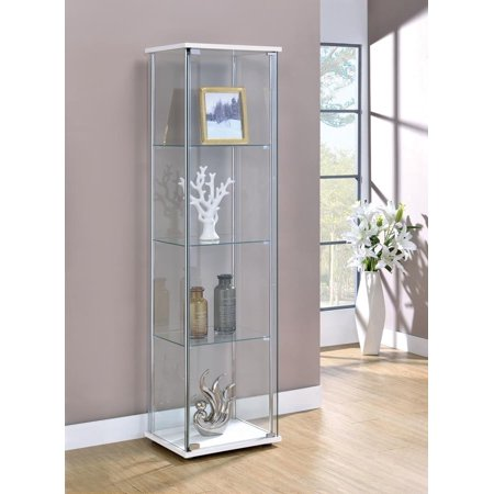 Three-Tier White and Chrome Curio Cabinet Front Curio Cabinet