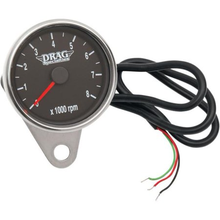 Drag Specialties Electronic - Drag Specialties 2211-0031 Polished 2.4in. Mini Electronic 8000 RPM Tachometer - Black Face with Orange Needle