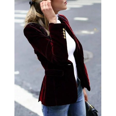 Women Retro Long Sleeve Velvet Blazers Coat Ladies Elegant Slim Fit Jacket Suit Black Velvet Blazer Jacket