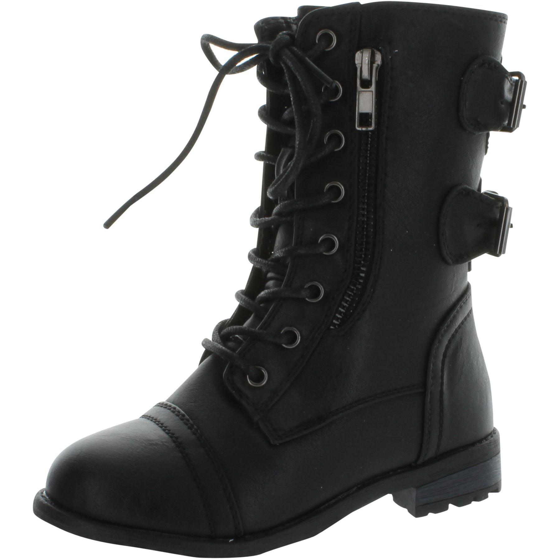 Black Girls Lace-Up Boots - Walmart.com