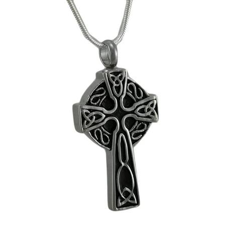 Stainless Steel Celtic Cross Keepsake Memorial Vial Pendant w/ Necklace
