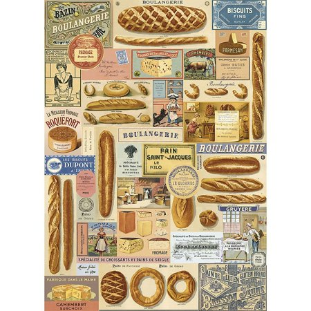 Cavallini & Co. Boulangerie Decorative Decoupage Poster Wrapping Paper Sheet, Luxury Italian archival paper stock By Cavallini Co Ship from US