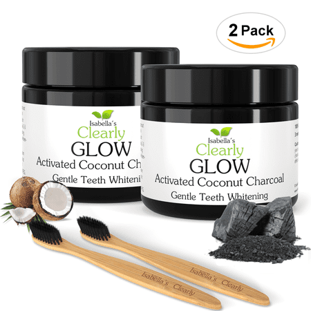 Isabella's Clearly GLOW Coconut - 2 Packs of Teeth Whitening Activated Charcoal (25mg each) + 2 Extra Soft Bamboo Toothbrushes. Food Grade, Non GMO, All Natural. No Additives or Preservatives.](Glow In The Dark Teeth)