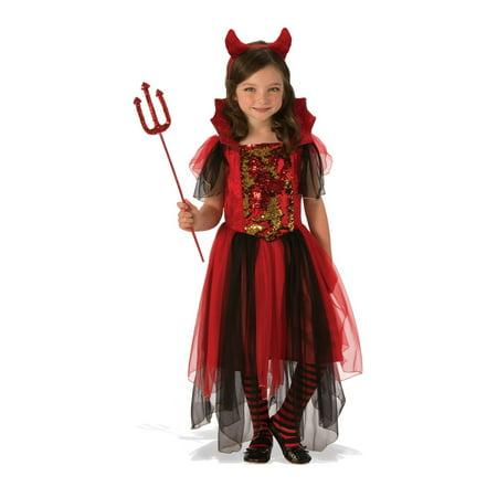 Color Magic Girls Devil Costume](Devil Girl Makeup For Halloween)