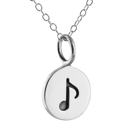 Sterling Silver Tiny Music Note Tag Charm Pendant Necklace, 18