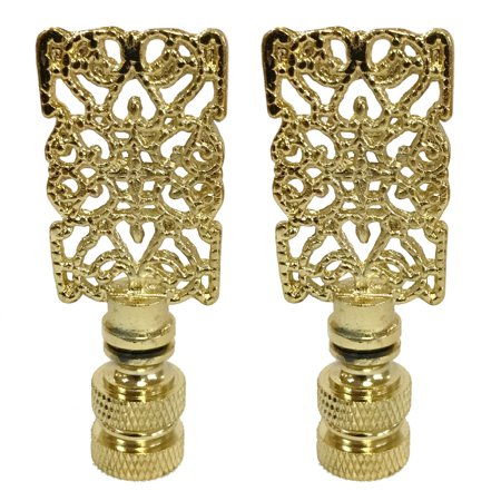 Royal Designs Rectangle Center Cross Filigree Lamp Finial for Lamp Shade- Polished Brass Set of -
