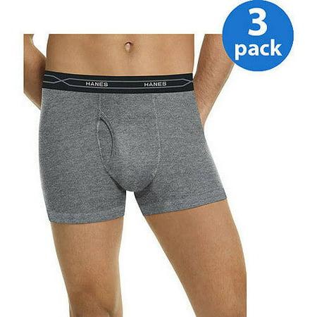 Hanes Men's Xtemp 3 Pack Regular Leg Black Gray Boxer Briefs
