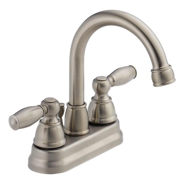 Peerless Apex Centerset Two Handle Bathroom Faucet in Brushed Nickel P299685LF-BN-ECO-W