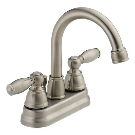Peerless Apex Centerset Two Handle Bathroom Faucet in Brushed Nickel P299685LF-BN-ECO-W Centerset Bathroom Faucet Finish