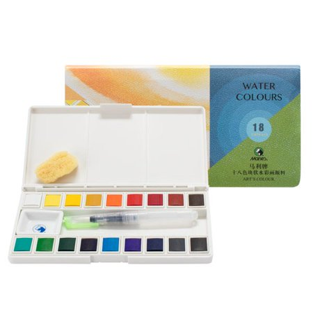 Mixing Watercolour (Marie's Sketch and Go Watercolor Paint Set Watercolor Pan Set For Travel Includes Palette Box With Mixing Area, Water Brush Pen, and a Natural Sponge )