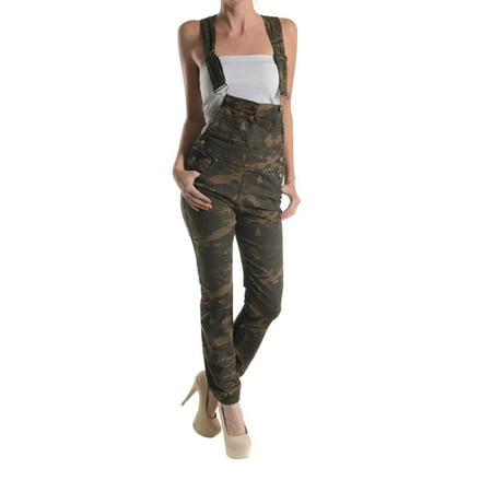 G-Style USA Women's Camo Print Overalls RJHO147A - OLIVE CAMO - Large - (Camo Overalls)