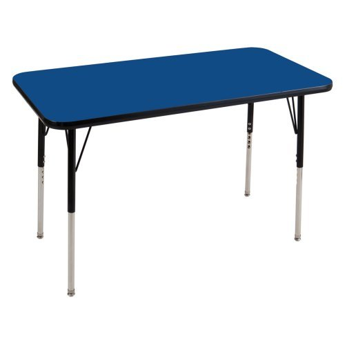 ECR4KIDS 24 x 36 in. Black Band Rectangular Adjustable Activity Table