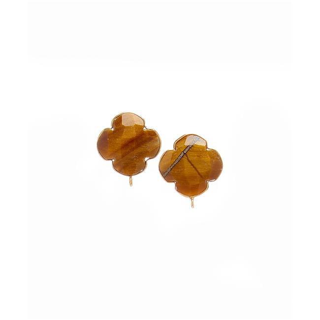 Henri Wills 610113200906 Quatrefoil Gemstone Stud Earrings, Tigers Eye by Henri Wills
