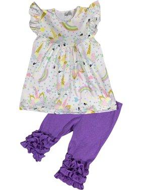 Little Girl Kids Short Sleeve Unicorn Rainbow Ruffle Short Pants Set Off White 2T XS 201276 BNY Corner