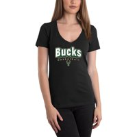 Women's 5th & Ocean by New Era Black Milwaukee Bucks NBA V-Neck T-Shirt