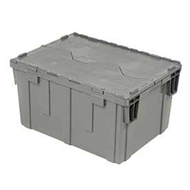 - Gray Distribution Container With Hinged Lid 28-1/8x20-3/4x15-5/8, Lot of 1