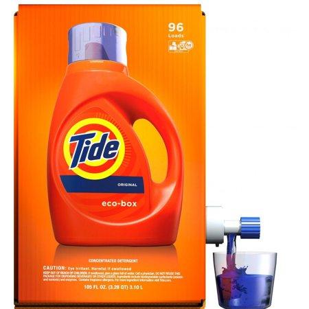 Tide High Efficiency Liquid Laundry Detergent Eco-Box, Original Scent, 105 fl oz, 96 - Roll Tide Shop