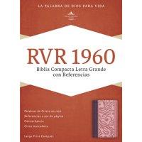 RVR 1960 Biblia Compacta Letra Grande con Referencias, borravino/rosado símil piel