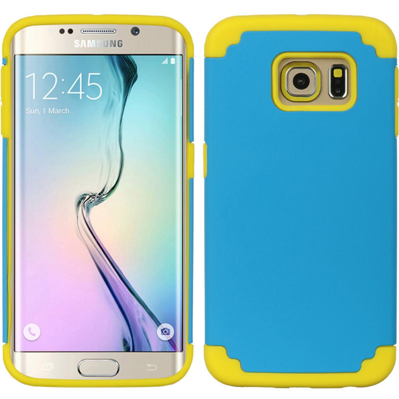 Samsung Galaxy S6 Edge Case, by Insten Dual Layer [Shock Absorbing] Hybrid Hard Plastic/Soft TPU Rubber Case Cover For Samsung Galaxy S6 Edge, Blue/Yellow