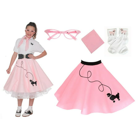 Child 4 pc - 50's Poodle Skirt Outfit - Small Child 4-6 / Light Pink - 50s Girl Outfit