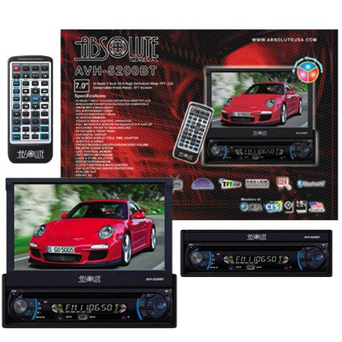 Absolute AVH-5200BT 7-Inch In-Dash Touch Screen DVD Multimedia Player with Detachable Front Panel Built in Bluetooth and Analog TV Tuner SD Card Slot/USB