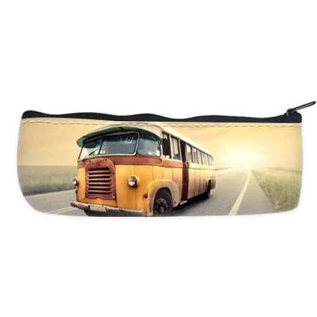 POPCreation Bus Driving On The Highway School Pencil Case Pencil Bag Zipper Organizer Bag ()