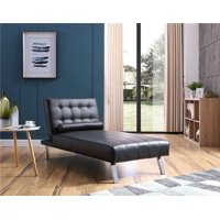 Button Tufted Back Convertible Chaise Lounger with Lumber Support Pillow, Black Color