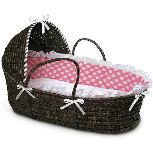 Badger Basket - Espresso Moses Basket with Hood and Pink Polka Dot Bedding