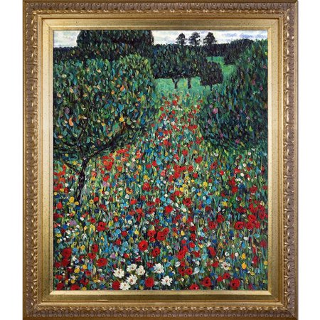 Tori Home Field Of Poppies By Gustav Klimt Framed Oil Painting Print On Canvas