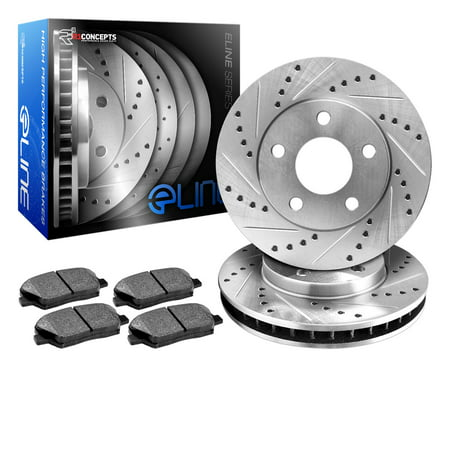 Fits 2003 2004 2005 2006 2007 2008 Honda Pilot Rear eLine Drilled Slotted Brake Disc Rotors & Ceramic Pad