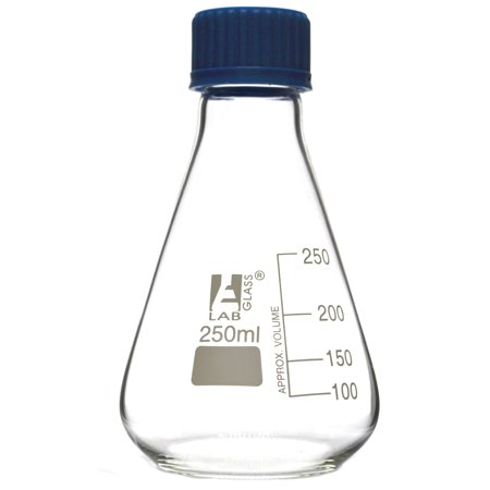 250mL Glass Erlenmeyer Flask with PTFE Lined Screw Cap, Borosilicate 3.3 Glass - Eisco Labs
