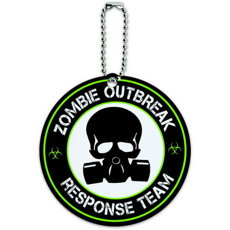 Zombie Outbreak Response Team Gas Mask Green Round Luggage ID Tag Card for Suitcase or Carry-On
