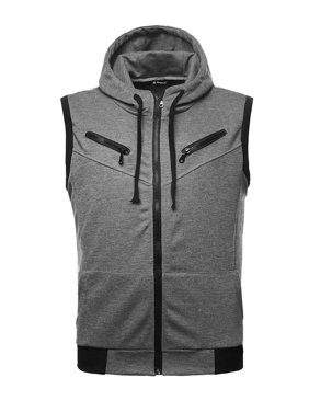 Men Kangaroo Pocket Zip Up Drawstring Hooded Vest