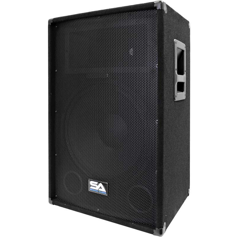"Seismic Audio  Powered 2-Way 15"" PA / DJ Speaker Cabinet with Titanium Horn 350W - SA-15T-PW"
