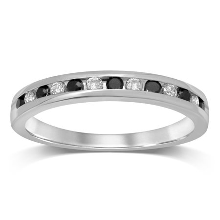Diamond Jewel 10K White Gold 1/4 Cttw White and Black Diamond Wedding