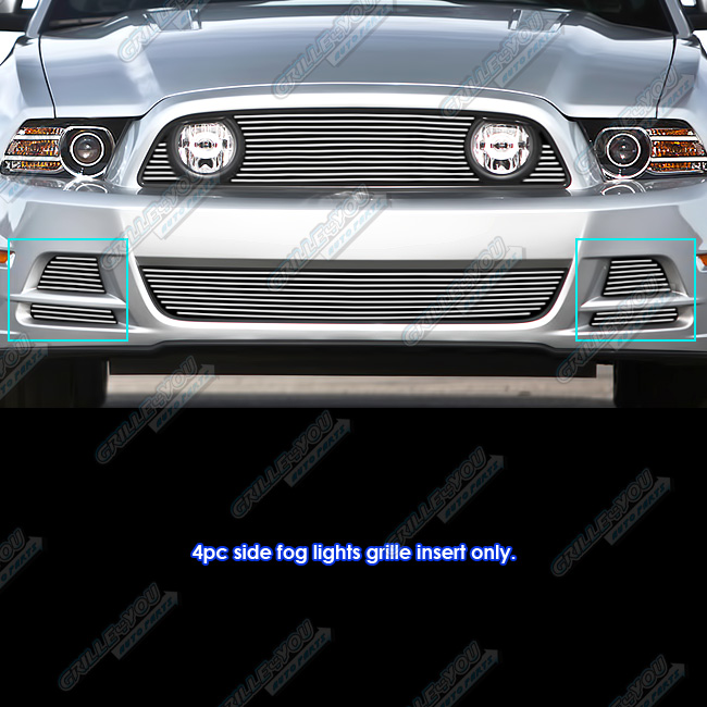 APS Fits 2013-2014 Ford Mustang GT Fog Light Cover Billet Grille Inserts