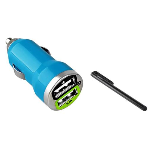 Insten Blue 2 Port Dual USB Car Charger Adapter + Black Stylus For iPhone 8 7 6 6s Plus X SE 5 5S 5C / Samsung Galaxy S8 S7 S6 S5 J1 J3 Luna Pro J5 J7 Sky Pro / LG Stylo 3 K7 G5 G4
