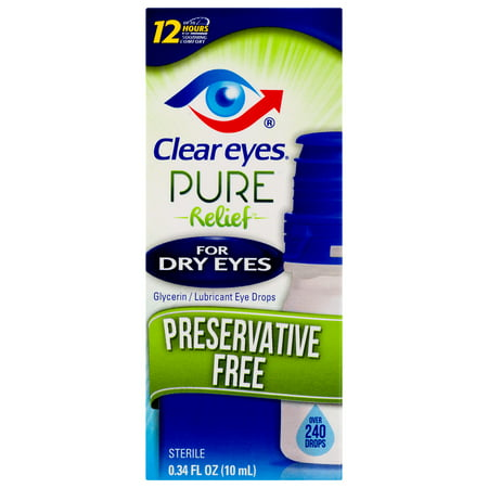 Clear Eyes Pure Relief Preservative Free Eye Drops Dry Eyes 0.34 FL