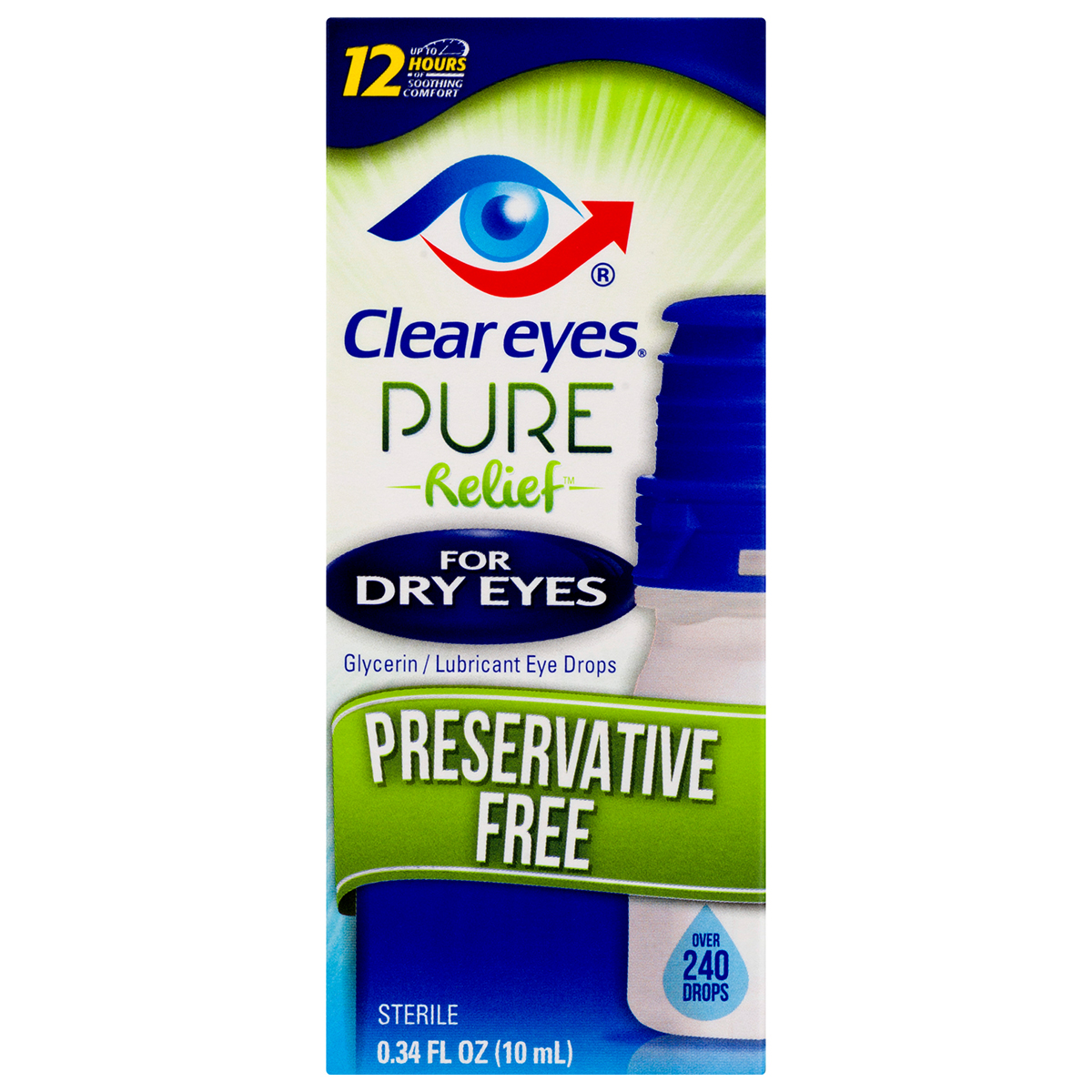 Clear Eyes Pure Relief Preservative Free Eye Drops Dry Eyes 0.34 FL OZ
