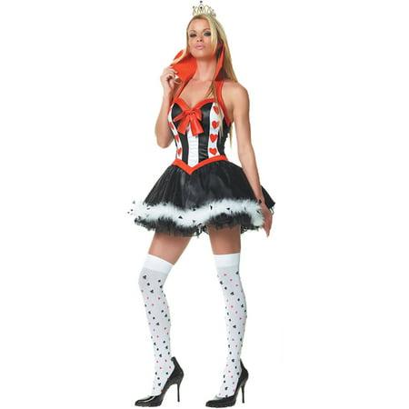 Queen of Hearts Women's Adult Halloween Costume, One Size, XL - Dead Prom Queen Costume Halloween