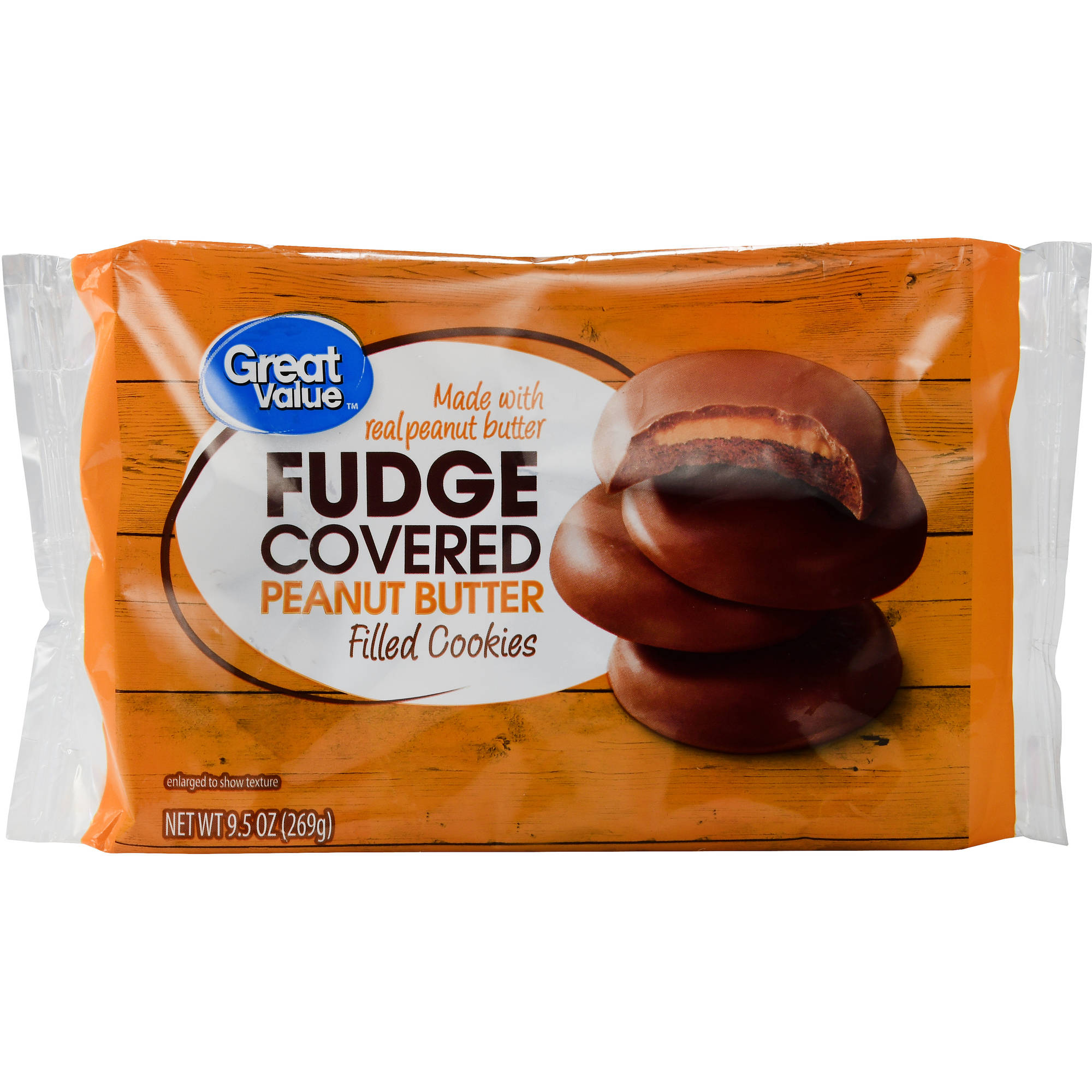 Great Value Fudge Covered Peanut Butter Filled Cookies, 9.5 oz