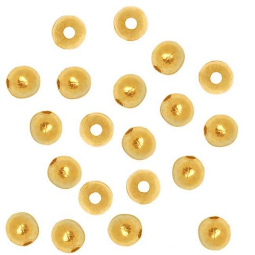 22K Gold Plated 2mm Round Metal Beads (100)