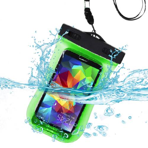 Premium Waterproof Sport Armband Case Bag for AMAZON  Fire phone, iPhone 6 (with Lanyard) (Green) + MYNETDEALS Mini Touch Screen Stylus