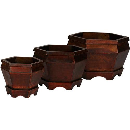 Nearly Natural 3pc Hexagon Wood Pot Set, Burgundy