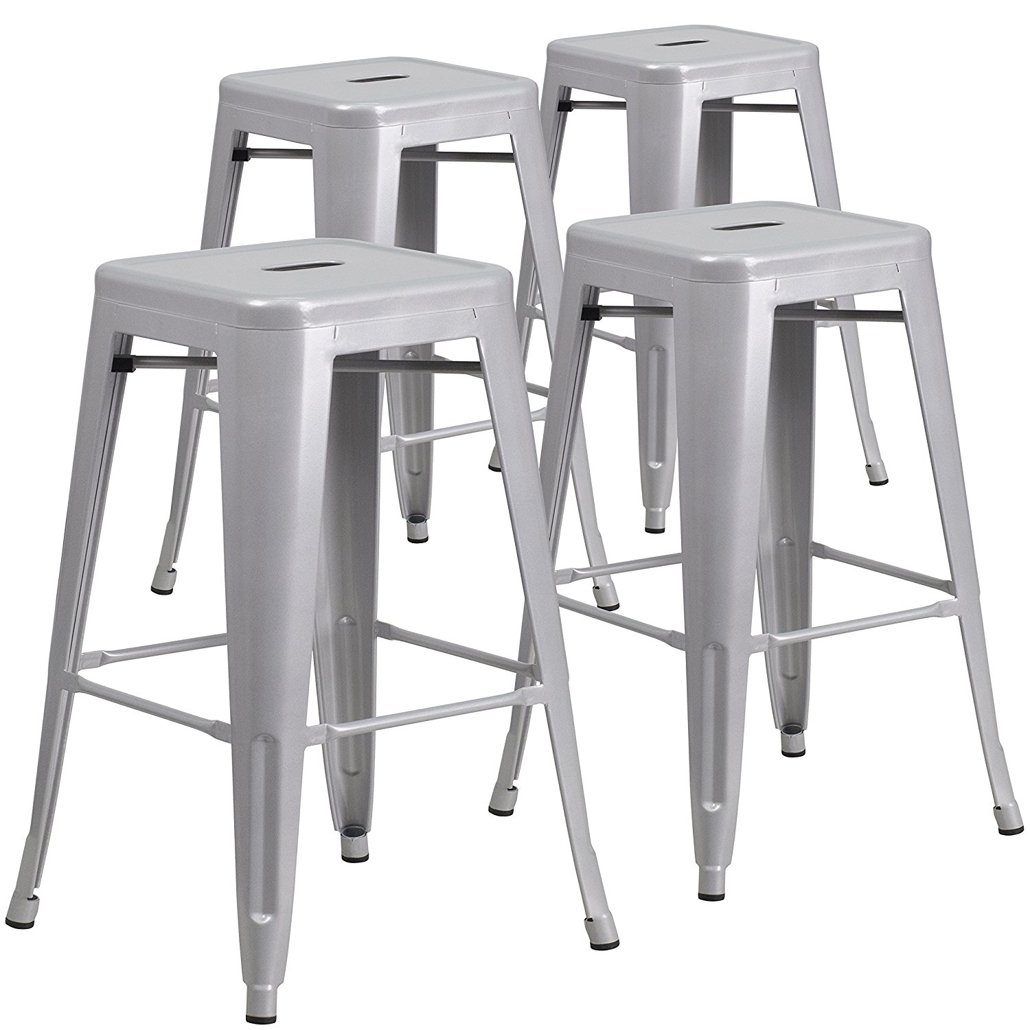 "Belleze Set of 4PC Modern Industrial Bar Stools 30""inch Seat Height- Silver"