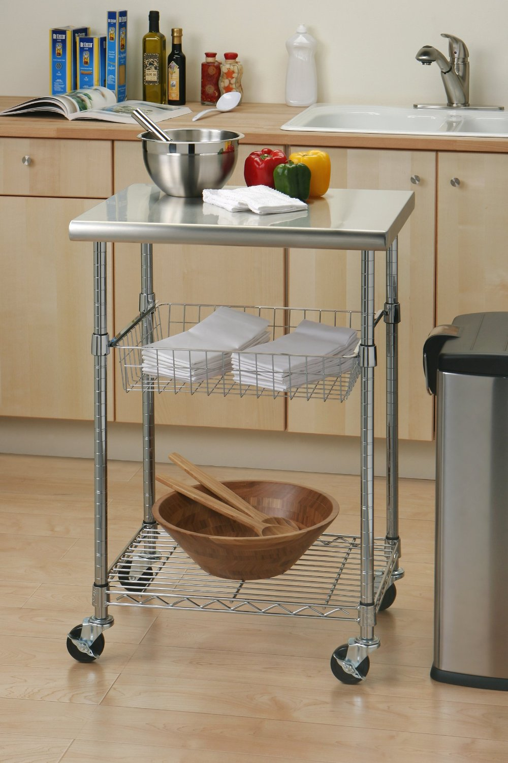 Seville Clics Stainless Steel Professional Kitchen Cart Cutting Table