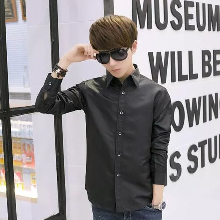 Men's Vocational Long-sleeve Personality Ultra-slim Solid Color Casual Shirts - image 2 of 7