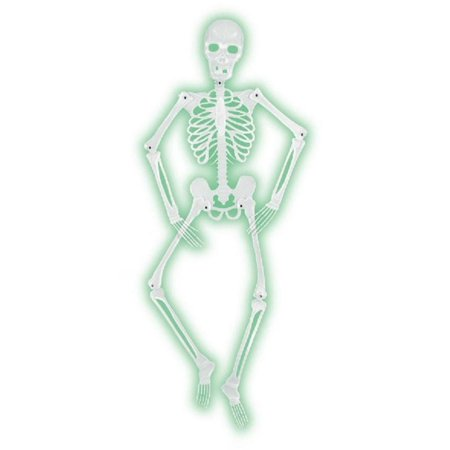 Pack of 6 Halloween Mr. Bones-A-Glo Jointed Skeleton Hanging Decoration 5'](Central Halloween)